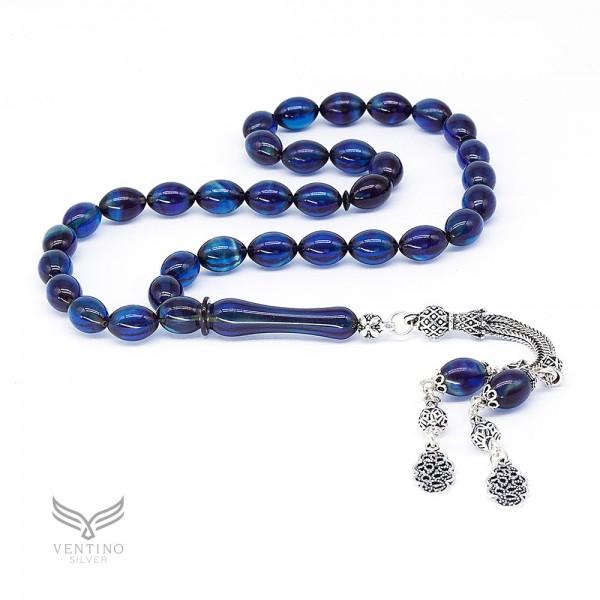 925 Ayar Gümüş Püsküllü Arpa Kesim Mavi Siyah Sıkma Kehribar Tesbih VET-0027