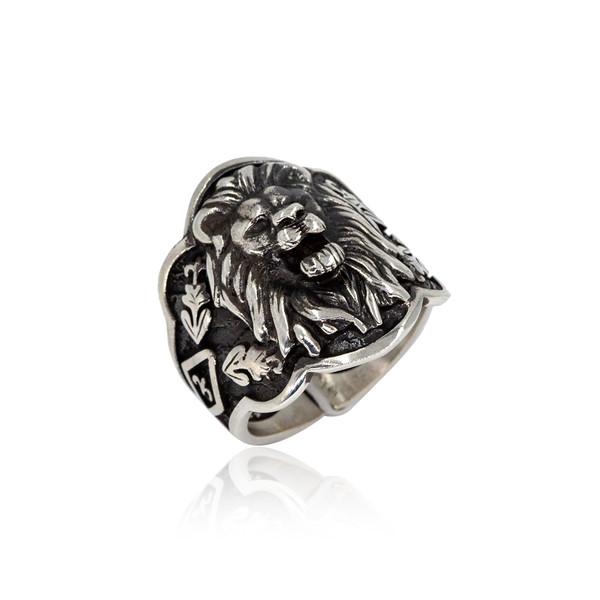 Aslan Motifli Ayarlanabilir 925 Ayar Gümüş Erkek Yüzük VEY-1135