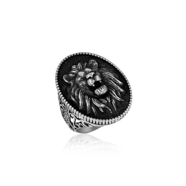 Aslan Motifli Tuğralı Gümüş Erkek Yüzük VEY-1136