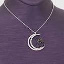 Ay ve Baykuş Figürlü Kadın Gümüş Kolye VKK-4041 - Thumbnail