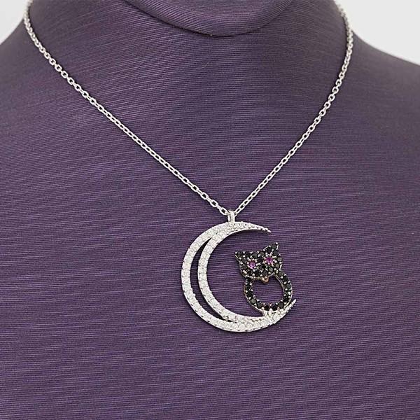 Ay ve Baykuş Figürlü Kadın Gümüş Kolye VKK-4041