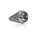Ay Yıldız 925 Ayar Gümüş Erkek Yüzük VEY-1114 - Thumbnail