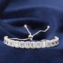 Baget Taşlı Ayarlanabilir Kadın Gümüş Bileklik VKB-6514 - Thumbnail