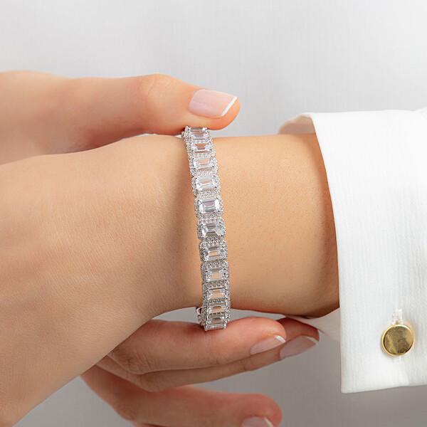 Baget Taşlı Ayarlanabilir Kadın Gümüş Bileklik VKB-6514