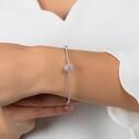 Baget Taşlı Kelepçe Kadın Gümüş Bileklik VKB-6520 - Thumbnail