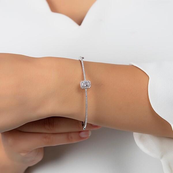 Baget Taşlı Kelepçe Kadın Gümüş Bileklik VKB-6520