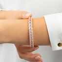 Baget Taşlı Rose Kaplama Ayarlanabilir Kadın Gümüş Bileklik VKB-6517 - Thumbnail