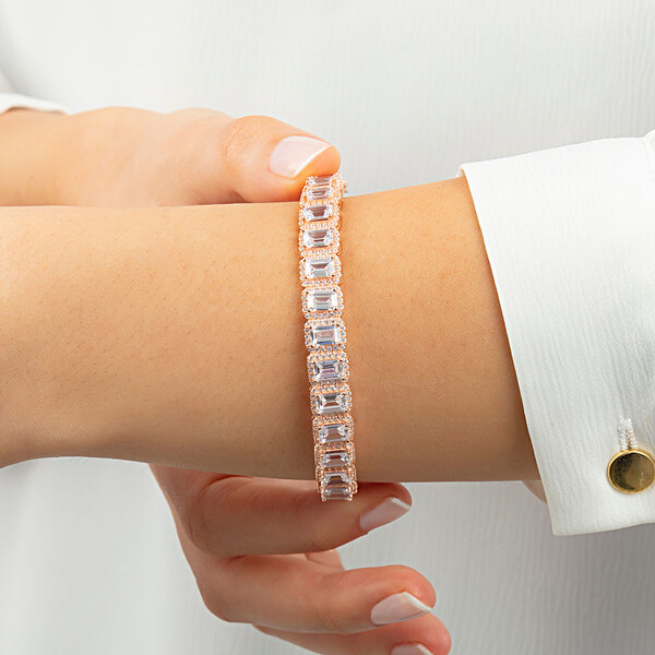 Baget Taşlı Rose Kaplama Ayarlanabilir Kadın Gümüş Bileklik VKB-6517