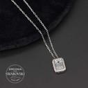Baget Taşlı Swarovski Kadın Gümüş Kolye VSW-9018 - Thumbnail