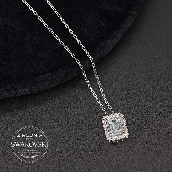 Baget Taşlı Swarovski Kadın Gümüş Kolye VSW-9018
