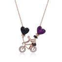 Bisikletli Çift Figürlü Kadın Gümüş Kolye VKK-4031 - Thumbnail
