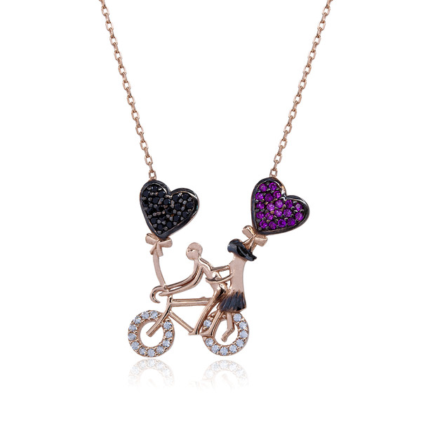 Bisikletli Çift Figürlü Kadın Gümüş Kolye VKK-4031