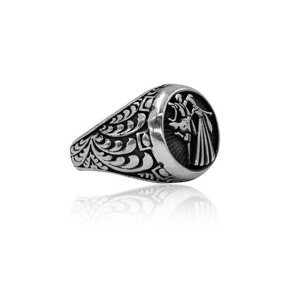 Çerkez Motifli 925 Ayar Gümüş Erkek Yüzük VEY-1144