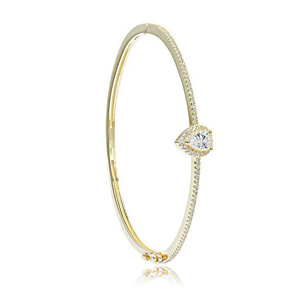 Damla Figürlü Altın Kaplama Zirkon Taşlı Kelepçe Kadın Gümüş Bileklik VKB-6521