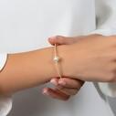 Damla Figürlü Altın Kaplama Zirkon Taşlı Kelepçe Kadın Gümüş Bileklik VKB-6521 - Thumbnail