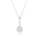 Damla Figürlü Zirkon Baget Taşlı Rodyum Kaplama Kadın Gümüş Kolye VKK-4089 - Thumbnail