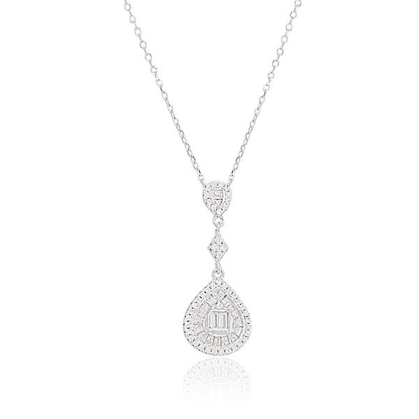 Damla Figürlü Zirkon Baget Taşlı Rodyum Kaplama Kadın Gümüş Kolye VKK-4089