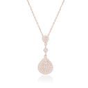 Damla Figürlü Zirkon Baget Taşlı Rose Kaplama Kadın Gümüş Kolye VKK-4090 - Thumbnail