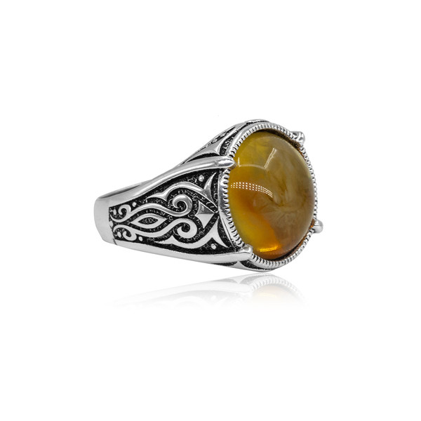 Damla Kehribar Taşlı 925 Ayar Gümüş Erkek Yüzük VEY-1401