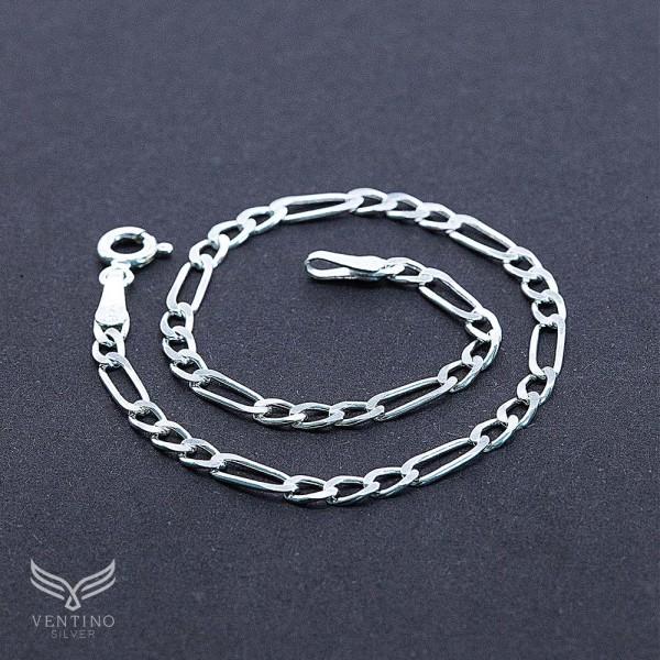 Figaro Zincir 925 Ayar Gümüş Erkek Bileklik VEB-5022