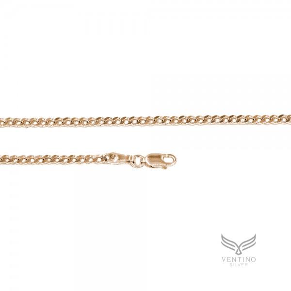 Gurmet 925 Ayar Gümüş Rose Kaplama Zincir Kolye VEK-3117