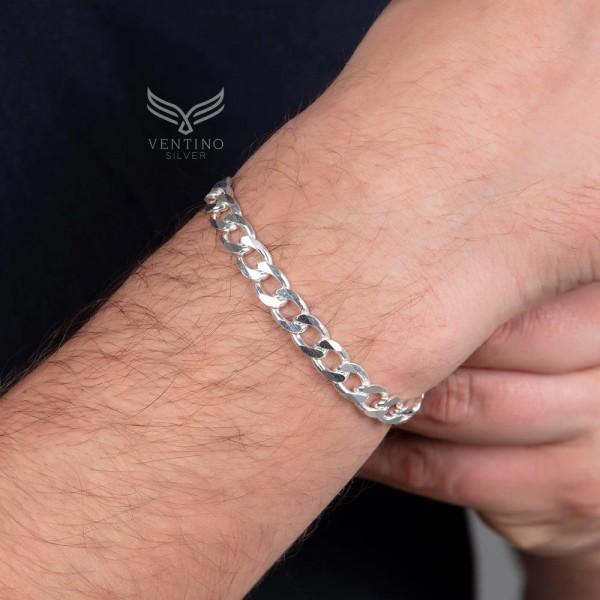 Gurmet Zincir 925 Ayar Gümüş Erkek Bileklik VEB-5016