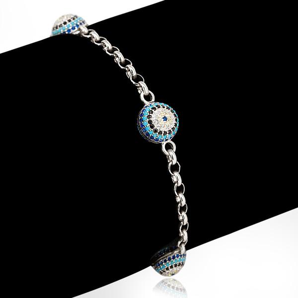Kadın Nazar Boncuklu Gümüş Bileklik VKB-6053