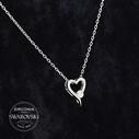 Kalp Figürlü Tektaş Swarovski Kadın Gümüş Kolye VSW-9028 - Thumbnail
