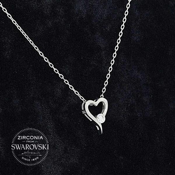 Kalp Figürlü Tektaş Swarovski Kadın Gümüş Kolye VSW-9028