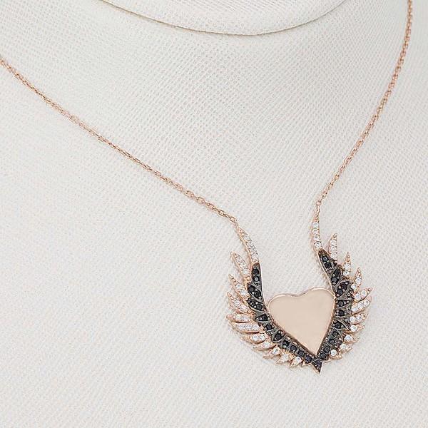 Kanat ve Kalp Motifli Kadın Gümüş Kolye VKK-4016
