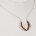 Kanat ve Kalp Motifli Kadın Gümüş Kolye VKK-4016 - Thumbnail