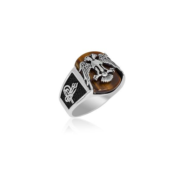 Kaplan Gözü Taşlı Selçuklu Kartalı Motifli 925 Ayar Gümüş Erkek Yüzük VEY-1018