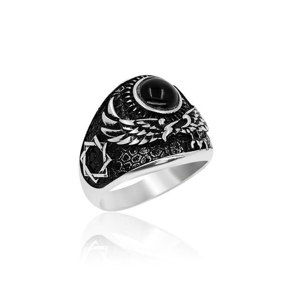 Kartal Motifli Gümüş Erkek Yüzük VEY-1142