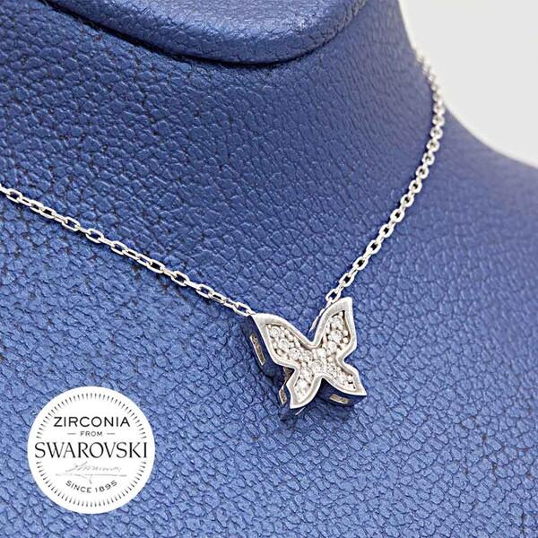 Kelebek Figürlü Swarovski Kadın Gümüş Kolye VSW-9027