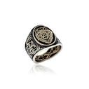 Kurt Motifli Türk Yazılı Gümüş Erkek Yüzük VEY-1134 - Thumbnail