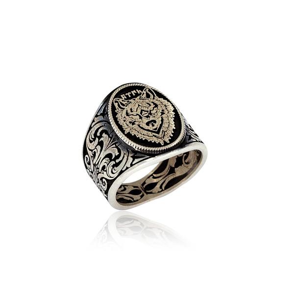 Kurt Motifli Türk Yazılı Gümüş Erkek Yüzük VEY-1134