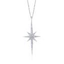 Kutup Yıldızı Figürlü Beyaz Zirkon Taşlı Kadın Gümüş Kolye VKK-4021 - Thumbnail