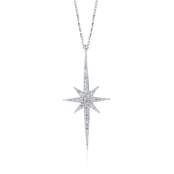 Kutup Yıldızı Figürlü Beyaz Zirkon Taşlı Kadın Gümüş Kolye VKK-4021