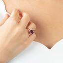 Lotus Çiçeği Mor Taşlı Rose Kaplama Kadın Gümüş Üçlü Set VKS-8022 - Thumbnail