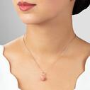 Lotus Çiçeği Pembe Taşlı Rose Kaplama Kadın Gümüş Üçlü Set VKS-8023 - Thumbnail