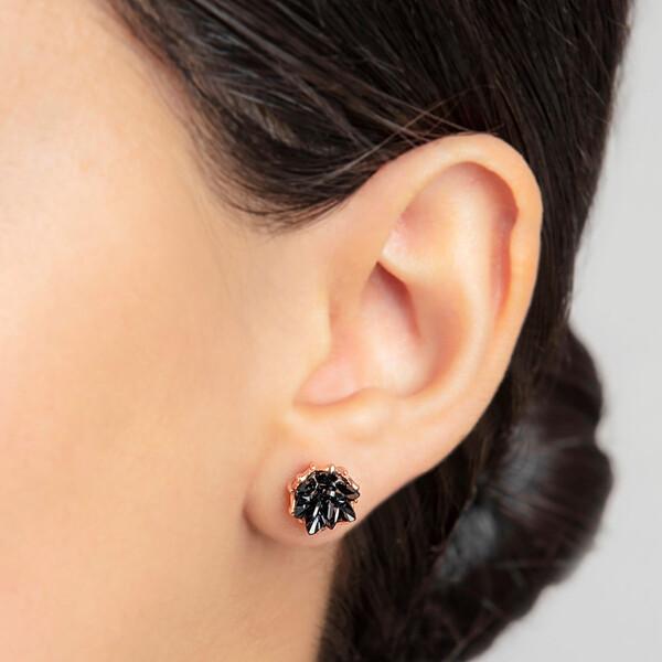 Lotus Çiçeği Siyah Taşlı Rose Kaplama Kadın Gümüş Üçlü Set VKS-8024