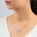 Mikail Meleği Beyaz Zirkon Taşlı Kadın Gümüş Kolye VKK-4005 - Thumbnail