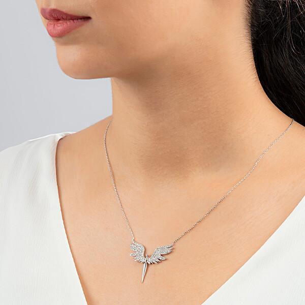 Mikail Meleği Beyaz Zirkon Taşlı Kadın Gümüş Kolye VKK-4005