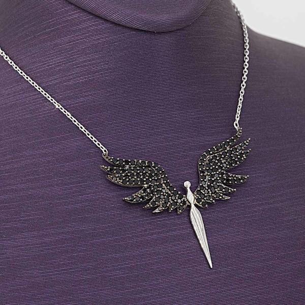 Mikail Meleği Siyah Zirkon Taşlı Kadın Gümüş Kolye VKK-4006