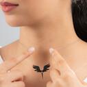Mikail Meleği Siyah Zirkon Taşlı Kadın Gümüş Kolye VKK-4006 - Thumbnail