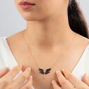 Mikail Meleği Siyah Zirkon 120 Taşlı Kadın Gümüş Kolye VKK-4058 - Thumbnail