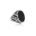 Oniks Taşlı Elif Vav 925 Ayar Gümüş Erkek Yüzük VEY-1016 - Thumbnail