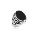 Oniks Taşlı Gümüş Erkek Yüzük VEY-1011 - Thumbnail