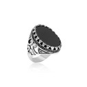 Oniks Taşlı 925 Ayar Gümüş Erkek Yüzük VEY-1012 - Thumbnail