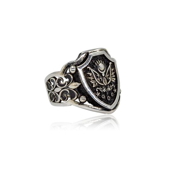 Osmanlı Armalı 925 Ayar Gümüş Erkek Yüzük VEY-1104